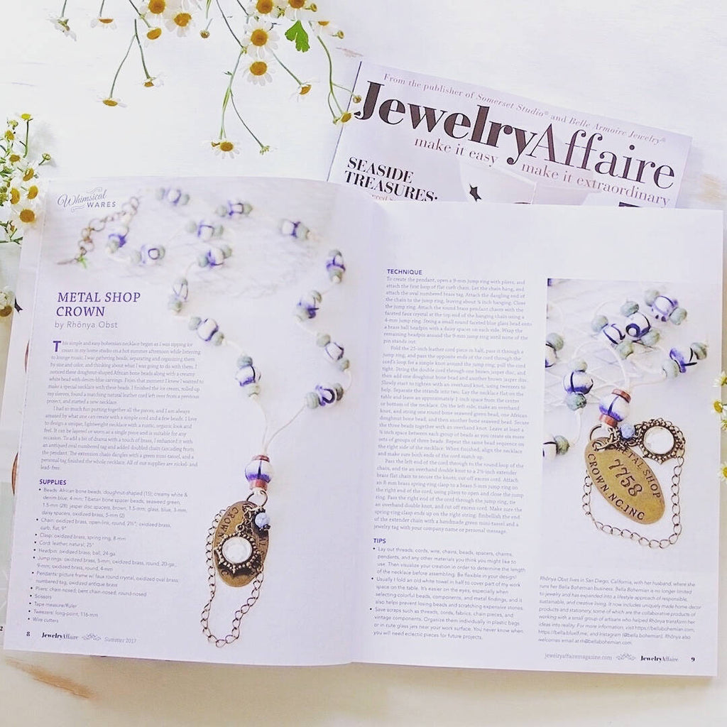 African and Tibetan beads necklace featured in Jewelry Affaire Magazine