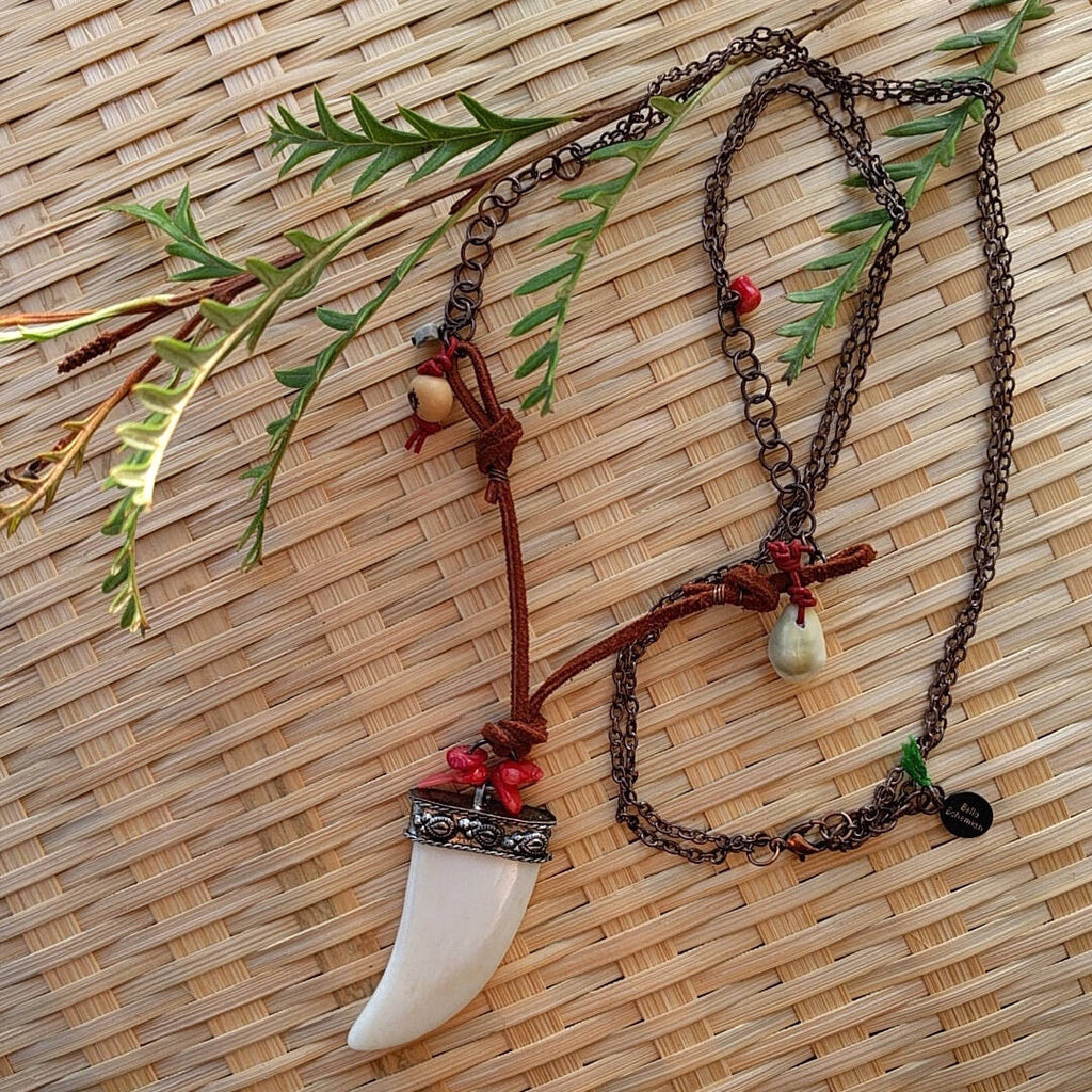 Indian ivory large tusk rustic pendant necklace
