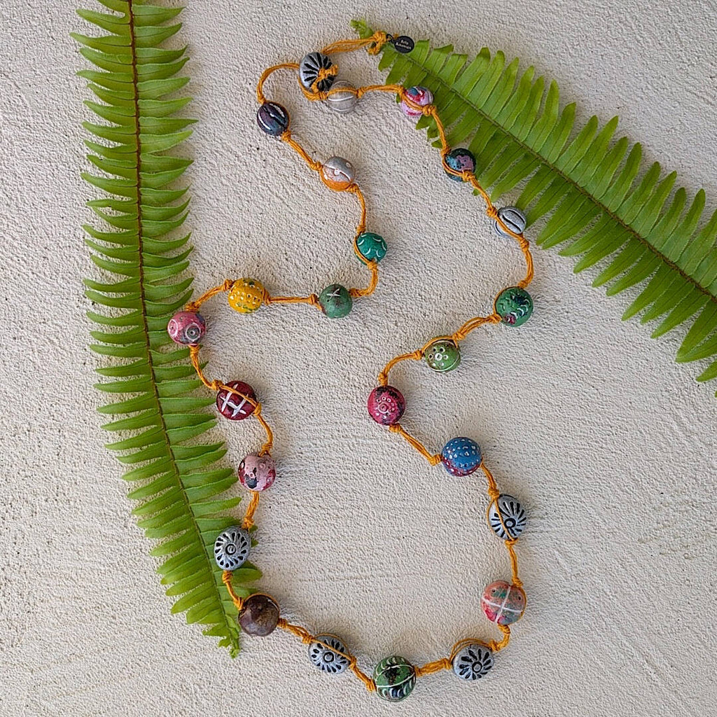 long rustic strand necklace hand-knotted - different background 2
