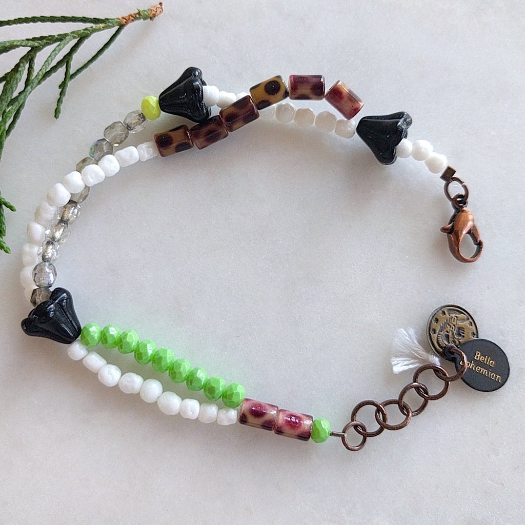 Japanese green bead and Czech glass handmade bracelet