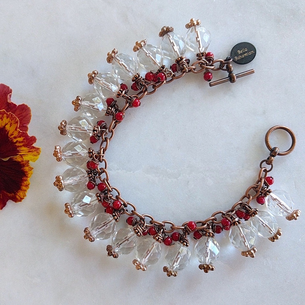 Copper charmed bracelet Boho chic with red corals and Swarovski crystals