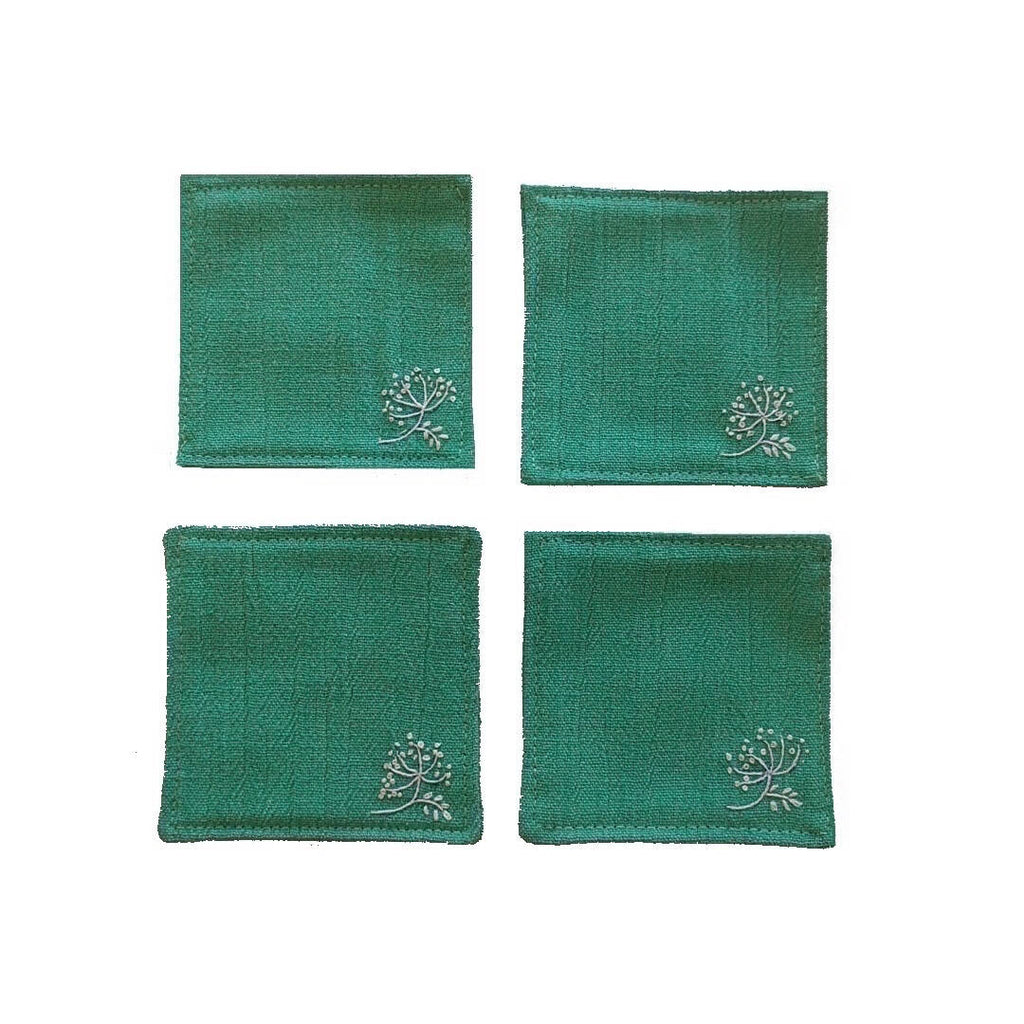 set of four teal green coasters - plain photo