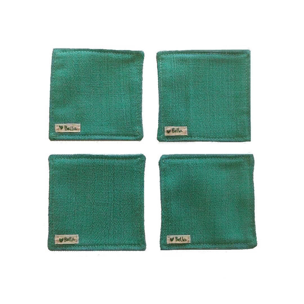 teal green set of four coasters showing bottom side with love bella tag