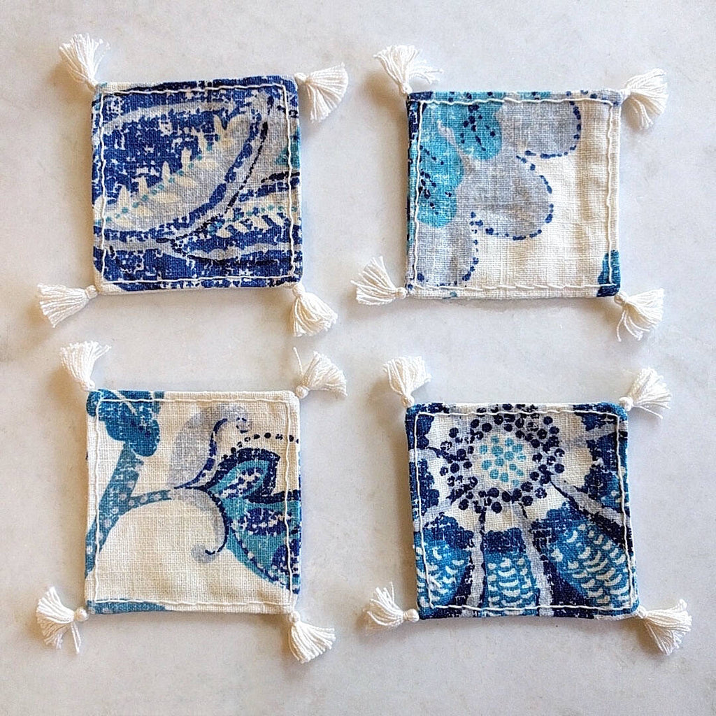 set of four square boho in royal blue and ivory colored heavy linen coasters