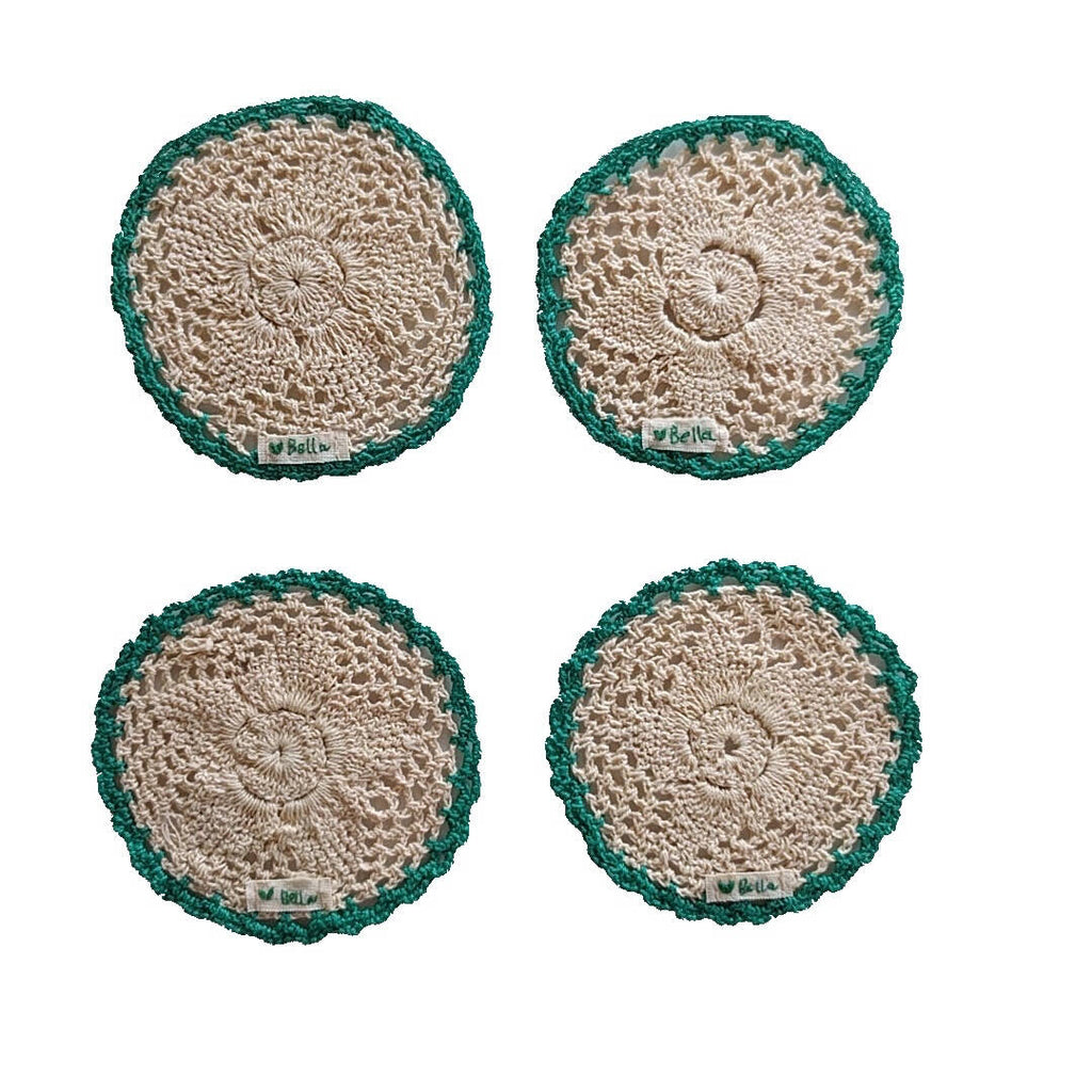 set of four round crochet cotton yarn coasters in natural tan color and teal border - showing bottom view with love bella tag