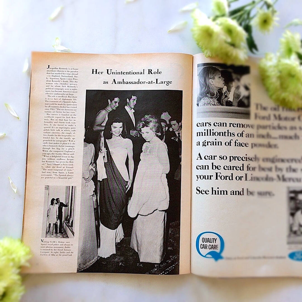 life magazine open showing jacqueline kennedy article in black and white (3)