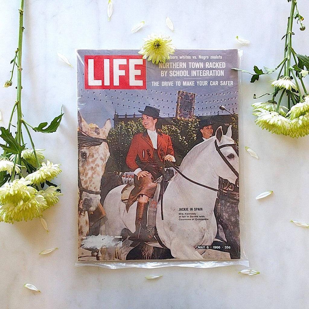 life magazine from may 1966 showing Jacqueline Kennedy on a white horse (2)