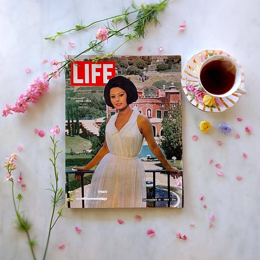 life magazine from september 1964 showing Sophia Loren in a white dress