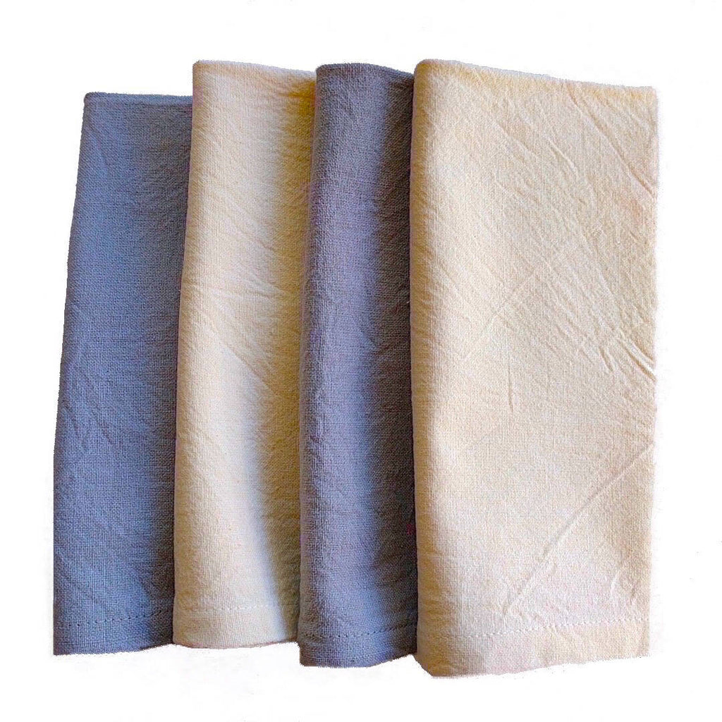 set of four ivory and gray color cotton napkins