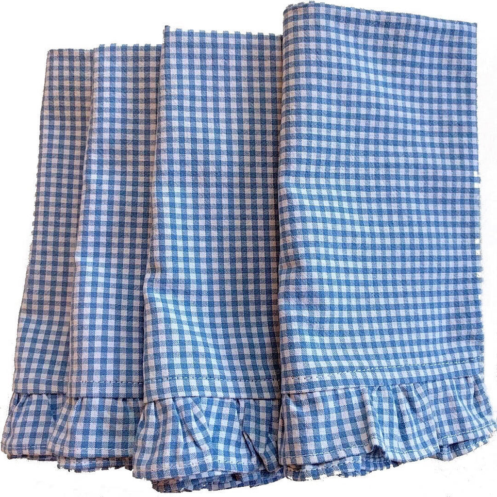 set of four cotton vintage blue white plaid napkins