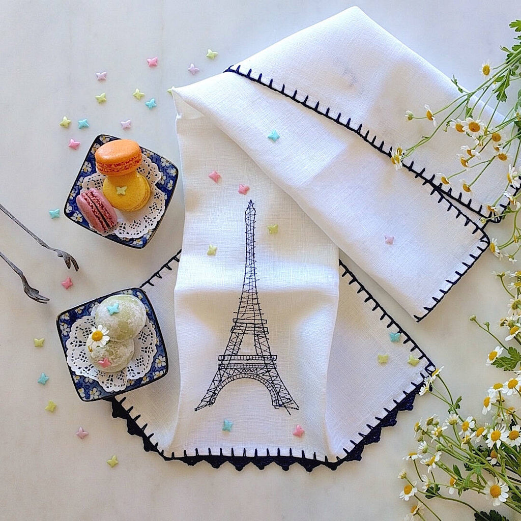 heavy linen kichen towel with blue crocheted eiffel tower and trim