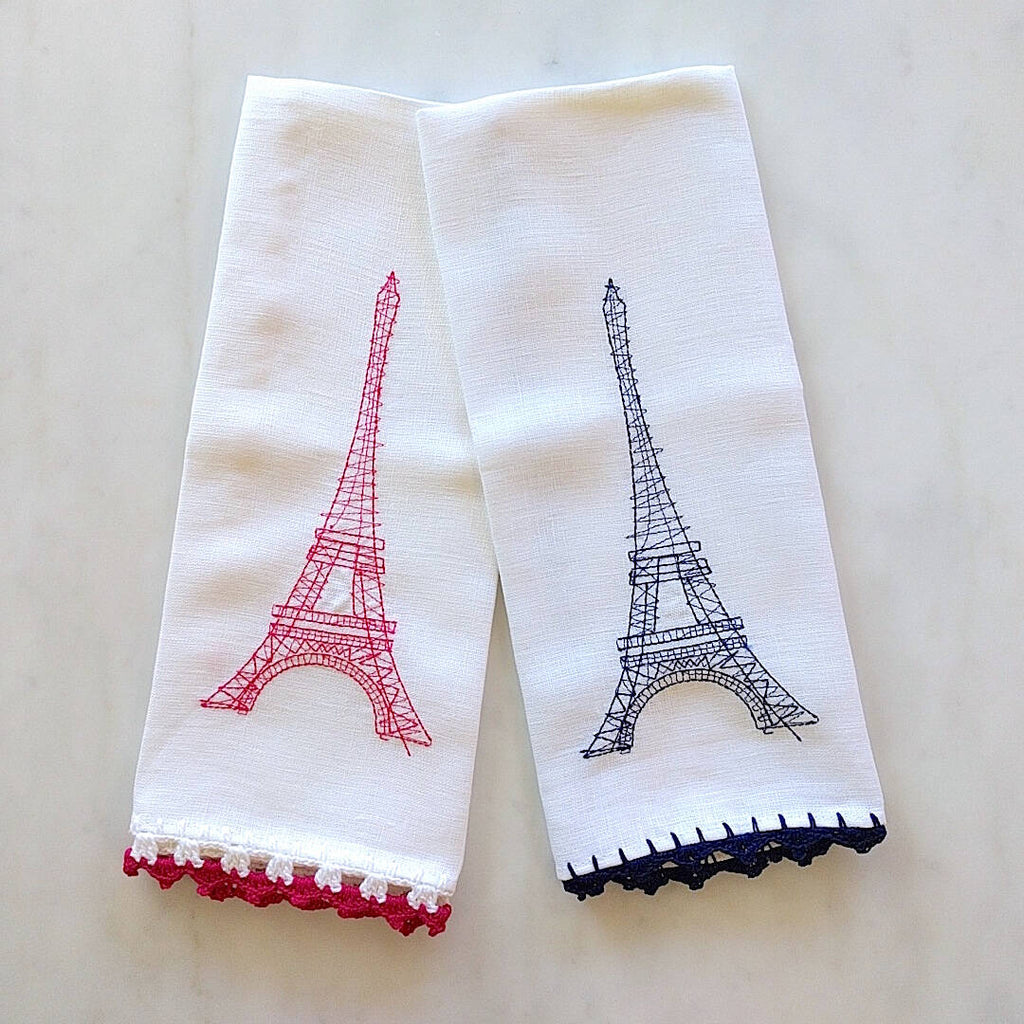 heavy linen kichen towels, one with pink, one with blue crocheted eiffel tower and trim