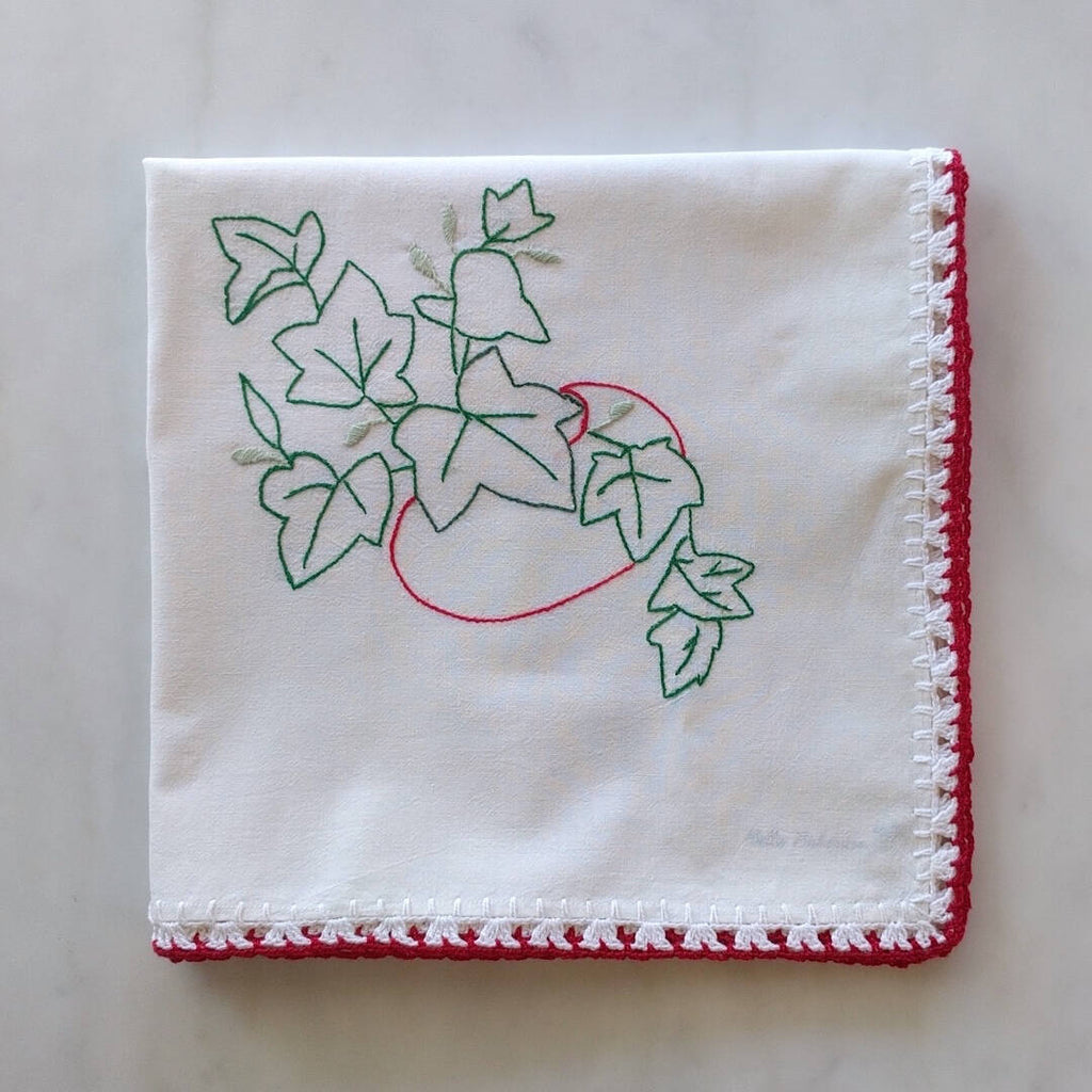 vintage cotton fabric tea towel with red tomato and green ivy motif