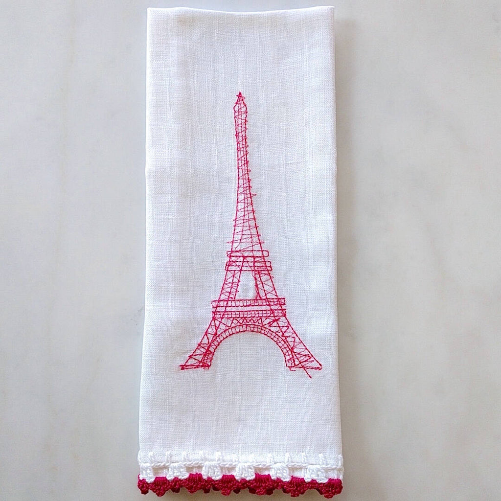 heavy linen kichen towel with pink crocheted eiffel tower and trim