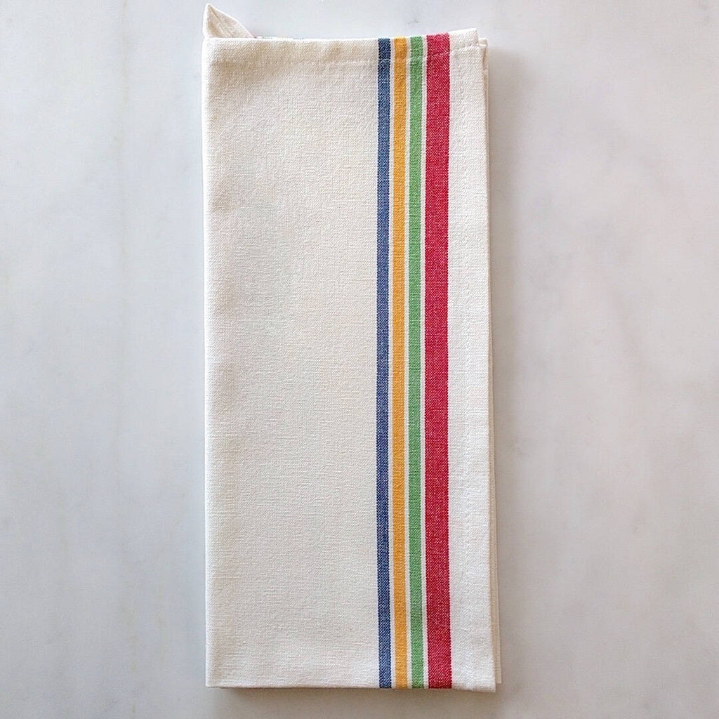 white cotton with multicolor striped tea towel