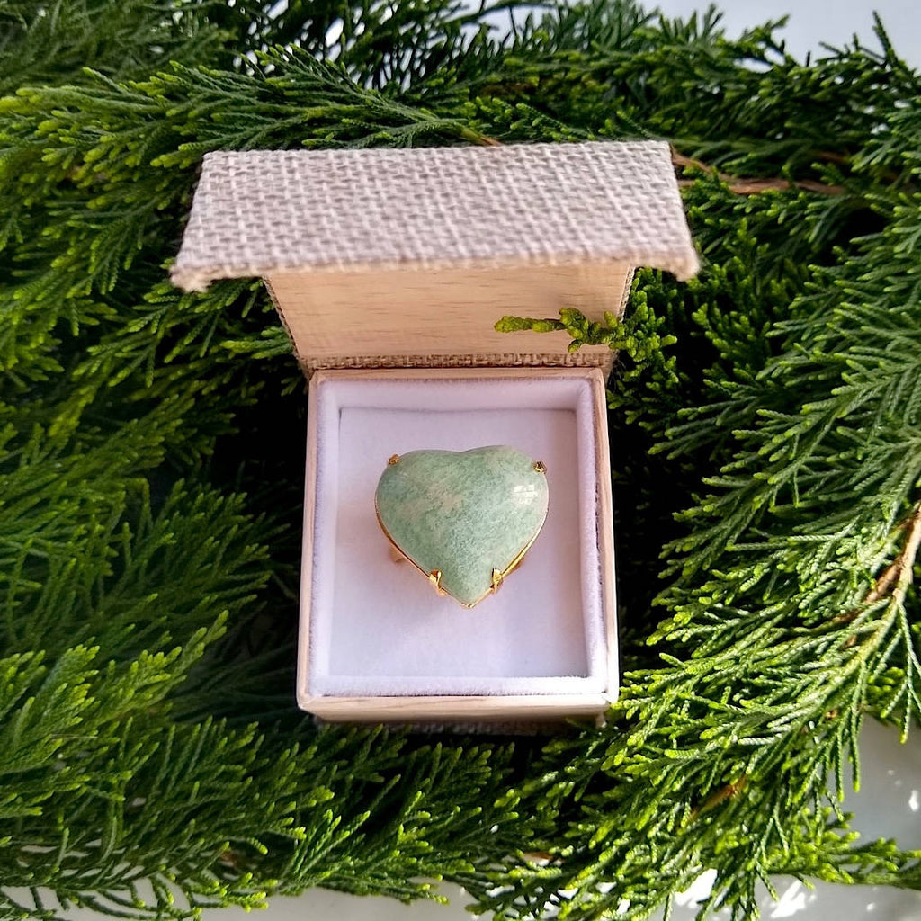 heart shaped amazonite adjustable cocktail ring in gift box