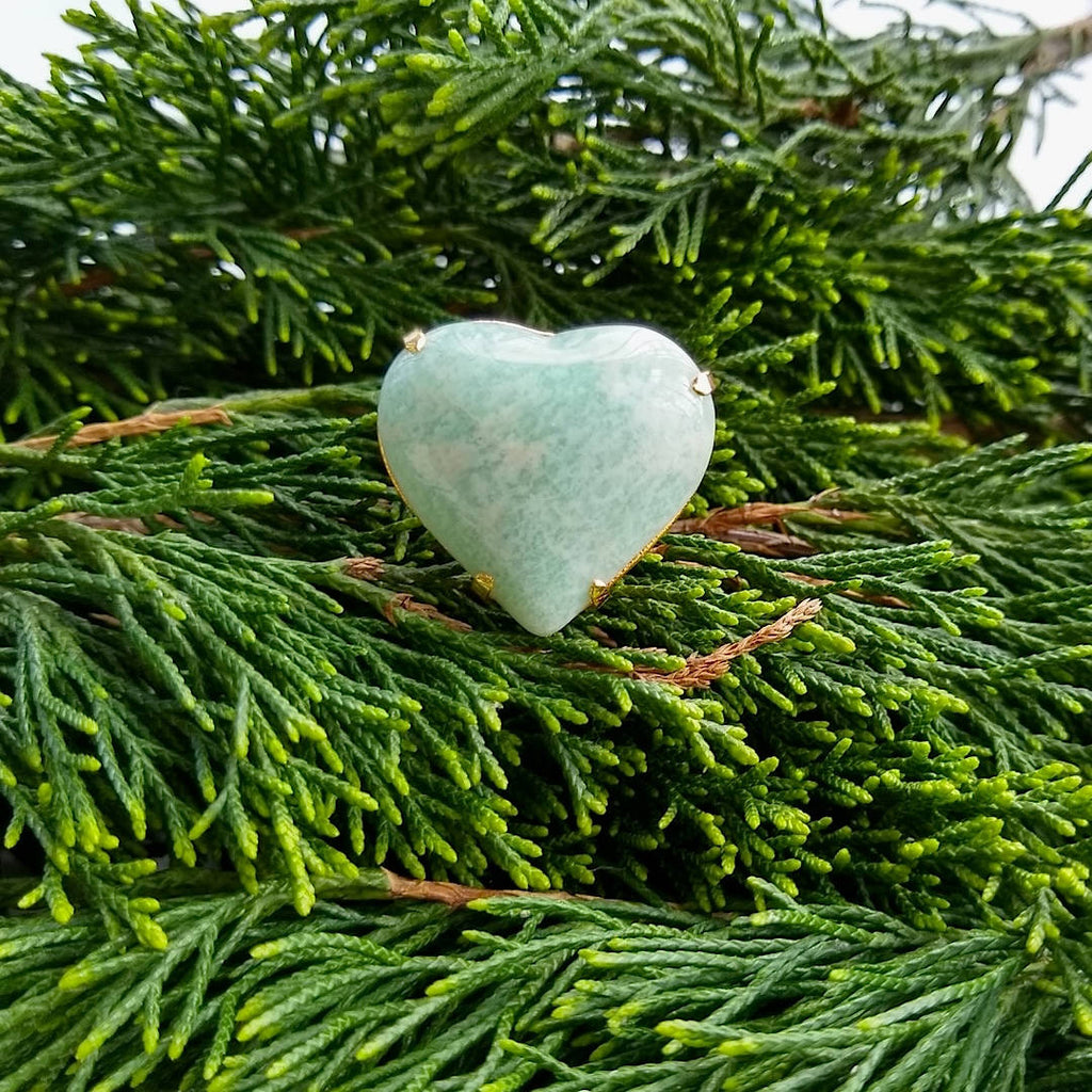 heart shaped amazonite adjustable cocktail ring