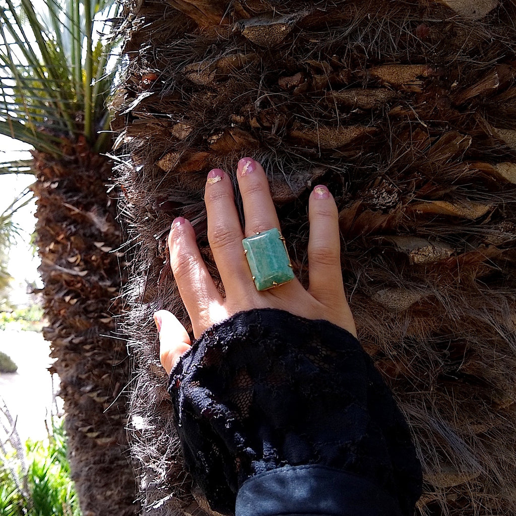 Rectangular Amazonite cocktail ring on a lady's hand