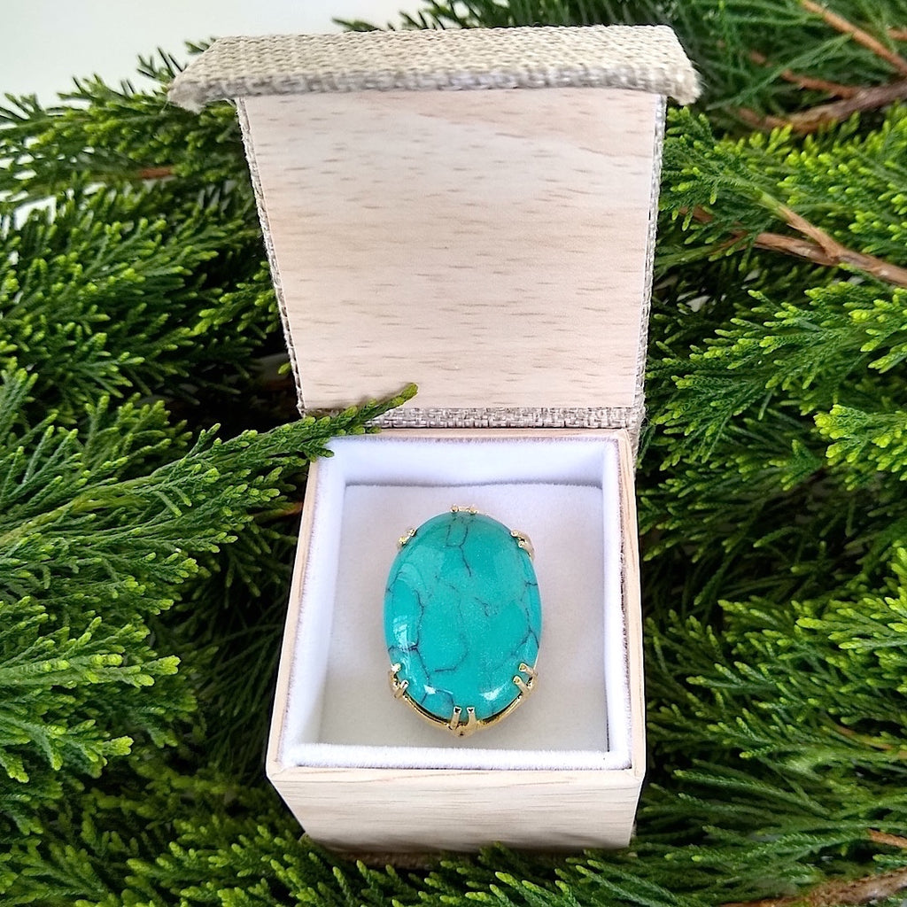 oval turquoise adjustable ring in gift box