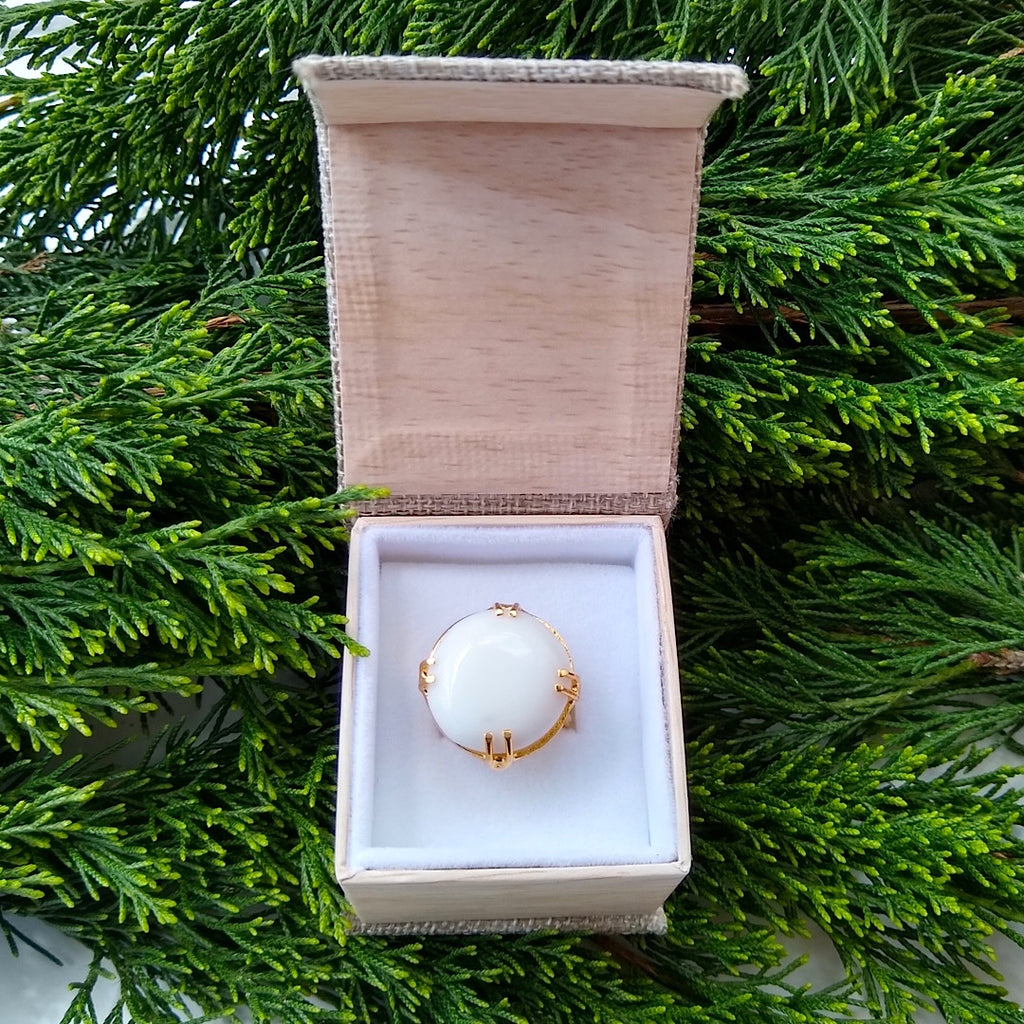 round Milky Crystal adjustable gold-plated cocktail ring in a gift box