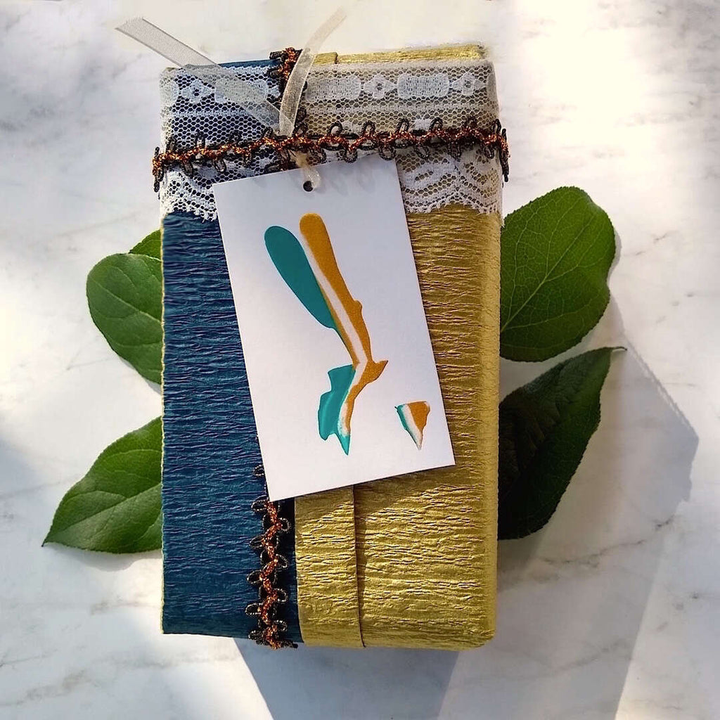 an example gift box with Bella Bohemian abstract gift tag
