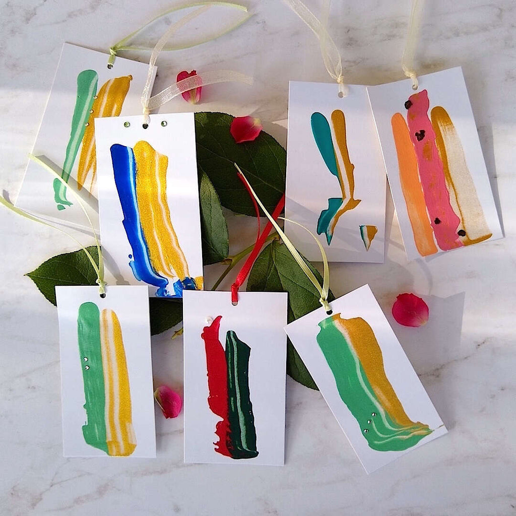 artistic abstract colorful gift tags
