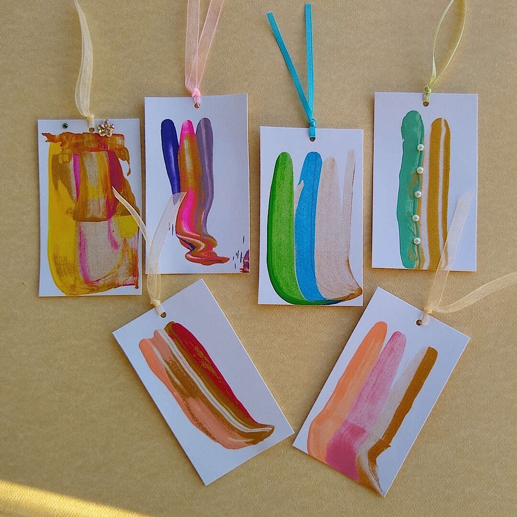 abstractly hand painted colorful gift tags with hang ribbons