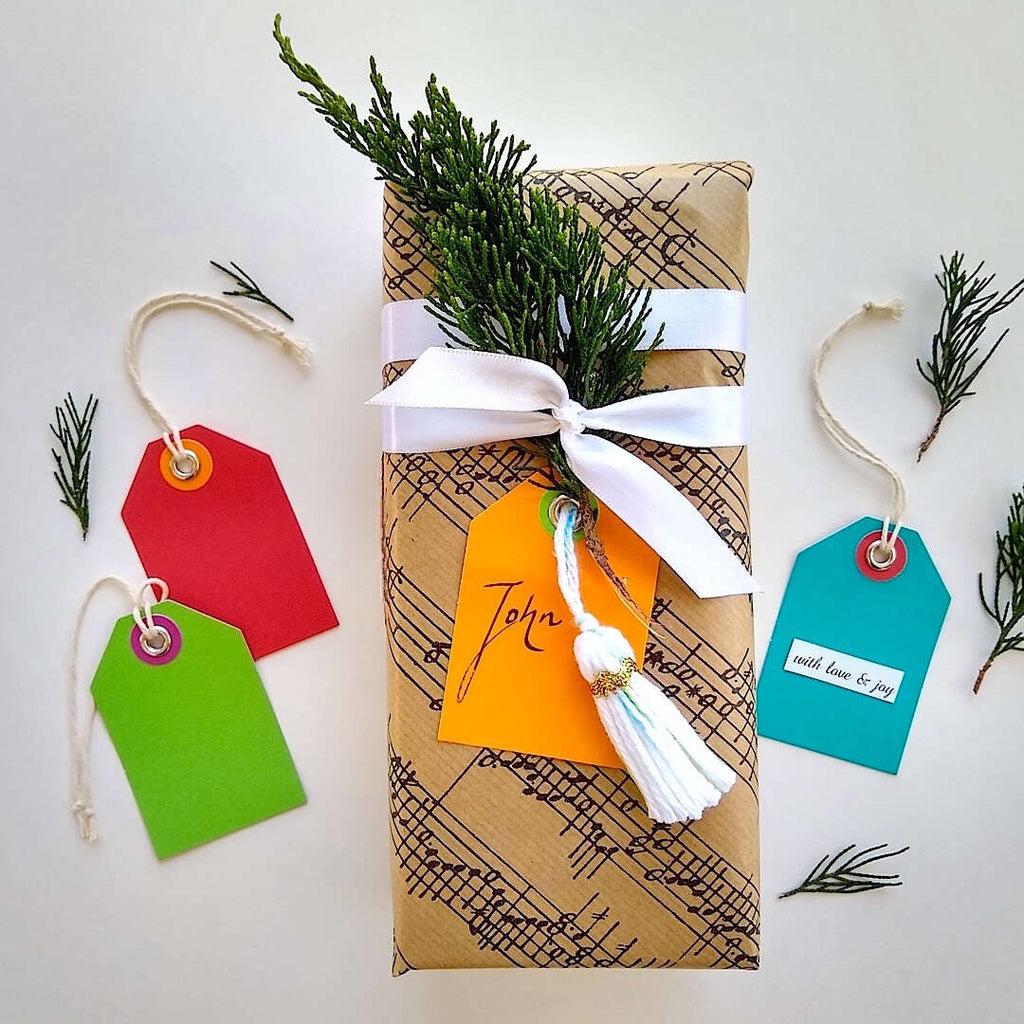 an example present with Bella Bohemian gift tags in red, green, orange and blue