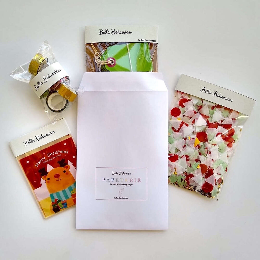 Stationery pack set of confetti, Christmas resealable bags, Washi tapes and gift tags with Bella Bohemian Papeterie envelope