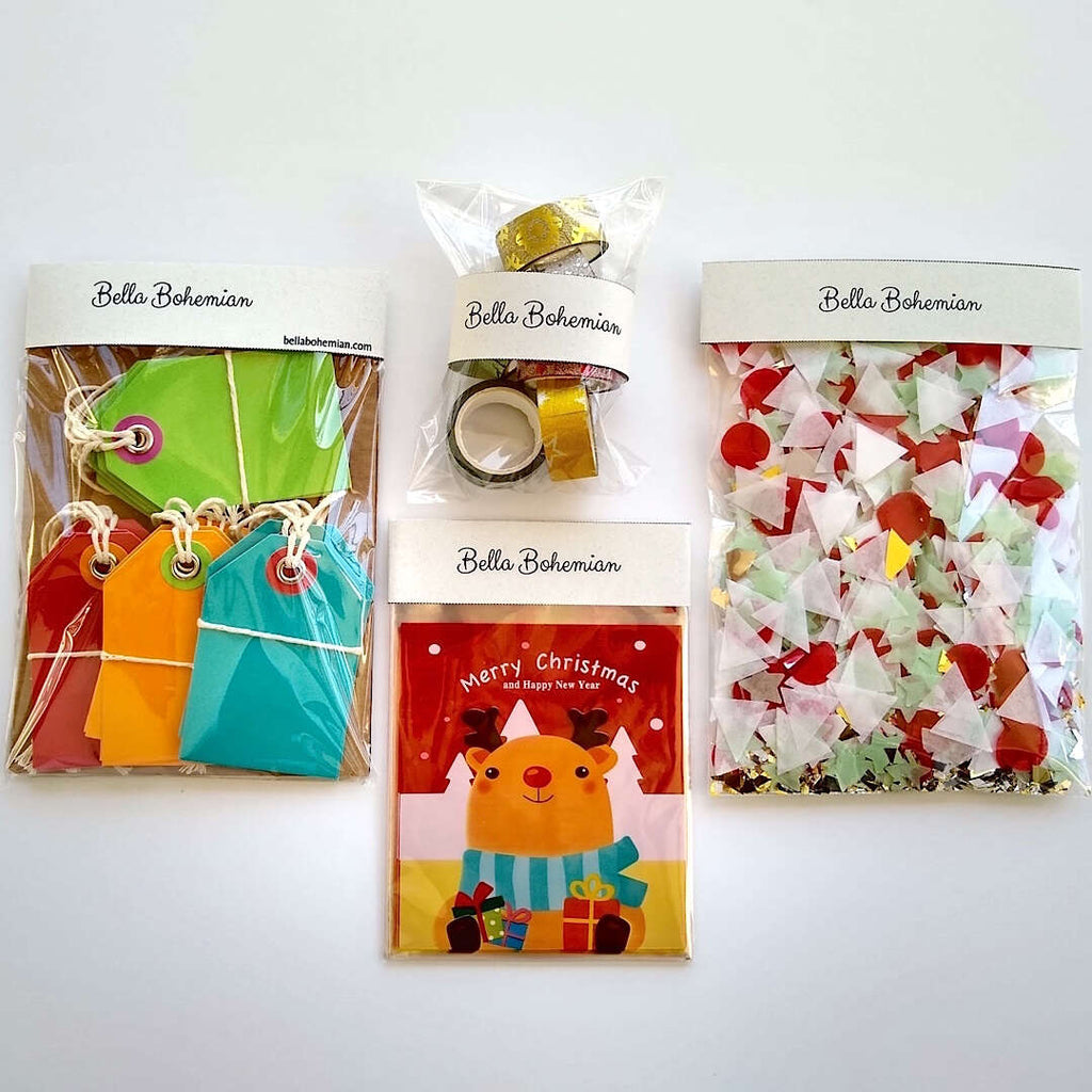 Stationery pack set of confetti, Christmas resealable bags, Washi tapes and gift tags