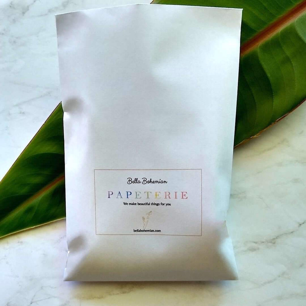 papeterie packs packaged in Bella Bohemian branded envelope