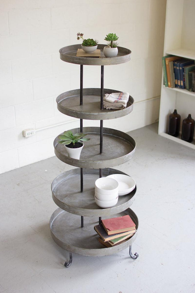 five tiers round metal display tower