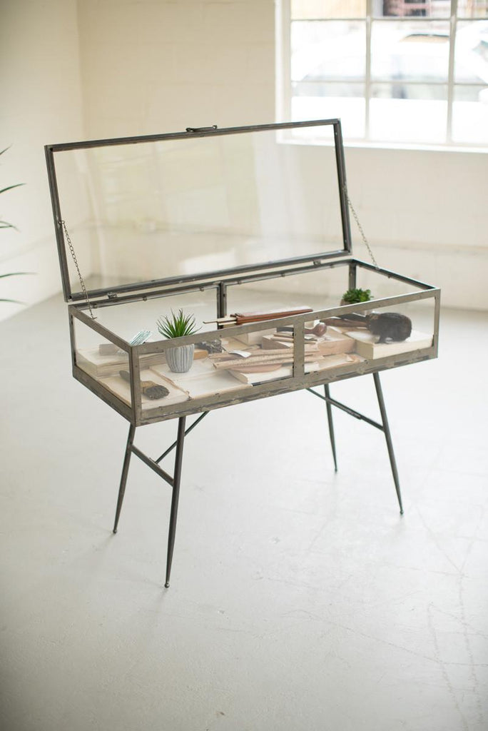 glass display cabinet with metal frame