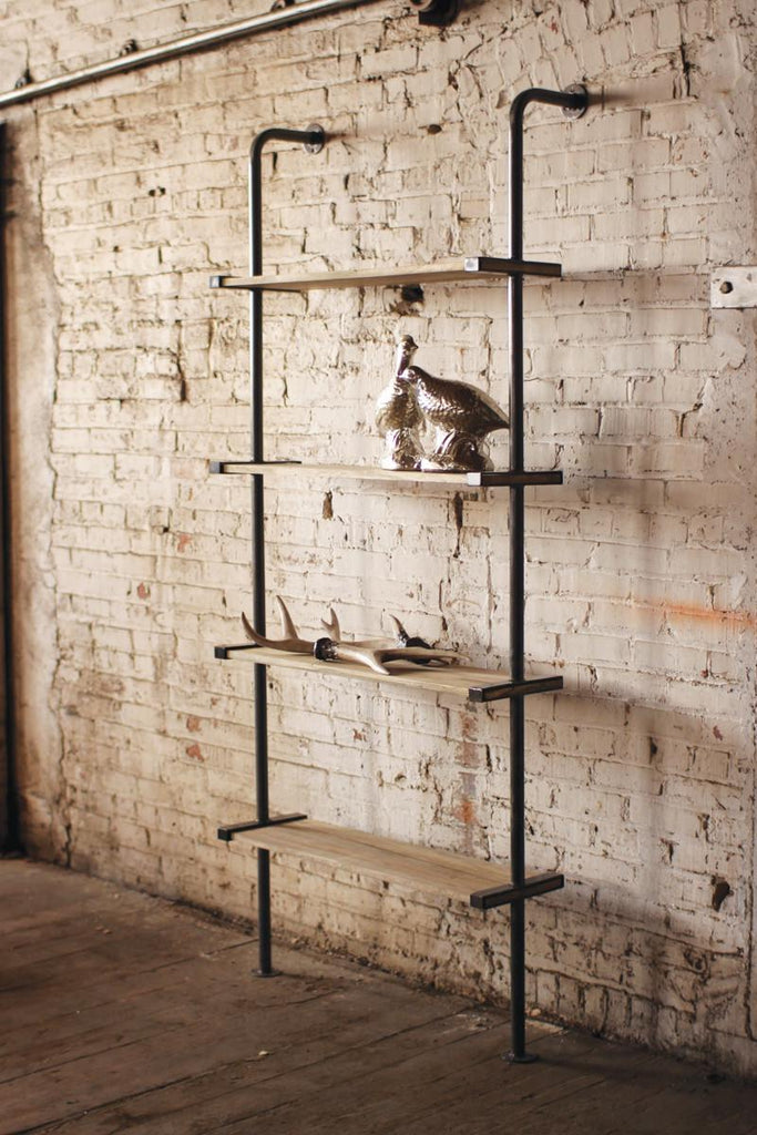 tall standing wood shelving unit with metal frame