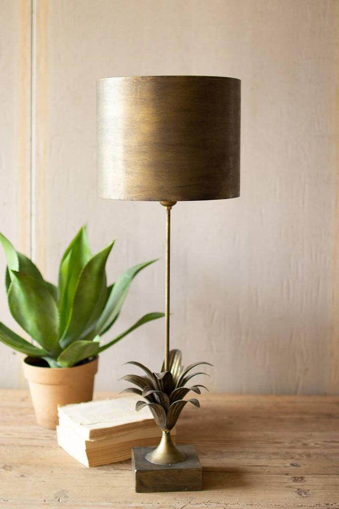antique gold metal table lamp with leaf accent