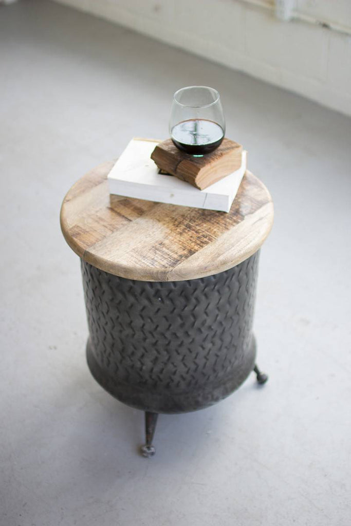 cylinder shaped metal side table with round mango wood top
