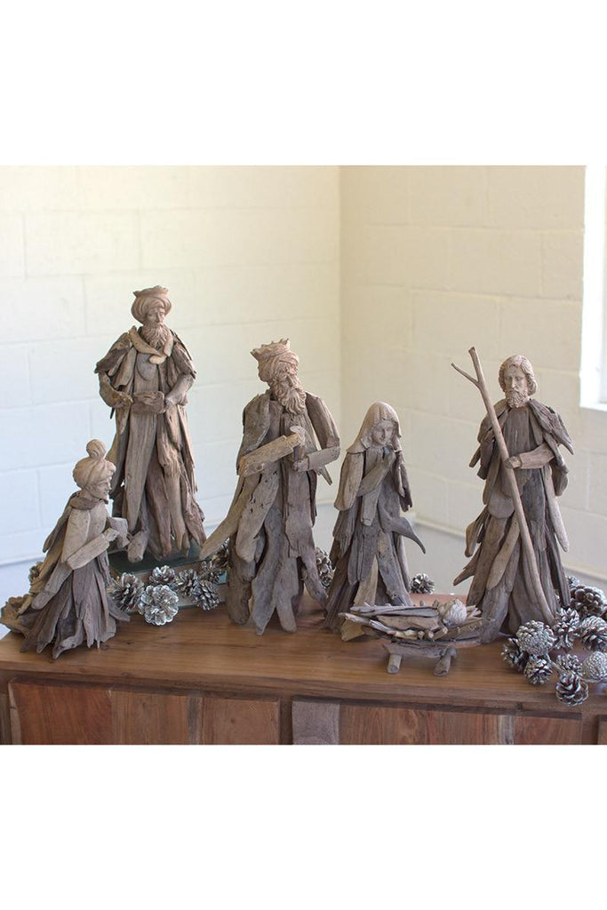 heart-felt nativity scene made from driftwood