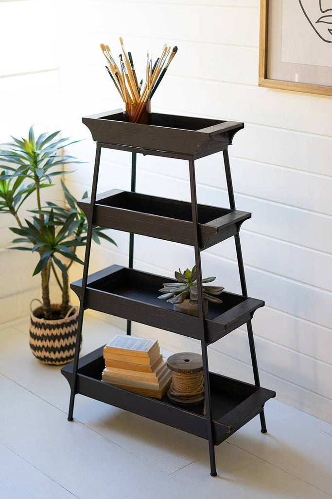 tiered wood and iron display of four shelves