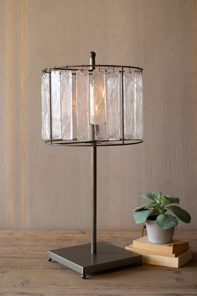 raw metal table lamp with glass chimes