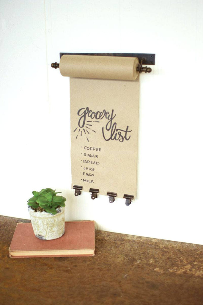 small hanging note roll with brass finish