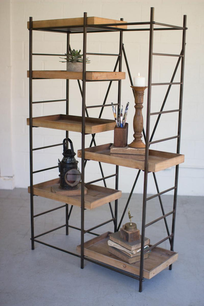 rustic multi-level metal framed scaffold with wood shelves