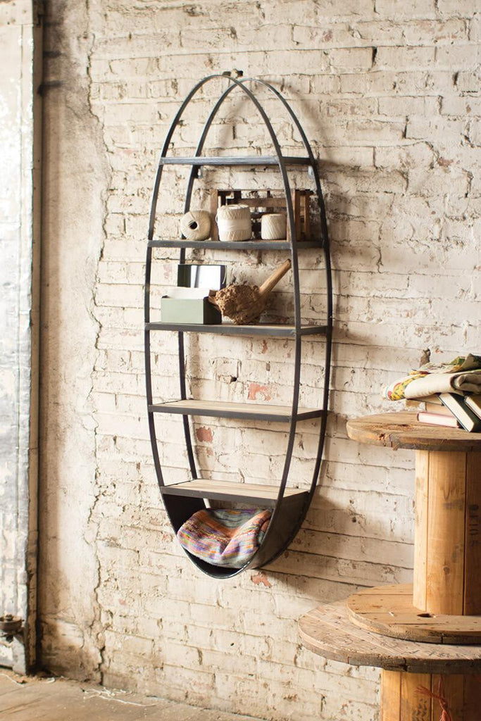 oval metal and wood wall mounted shelving unit