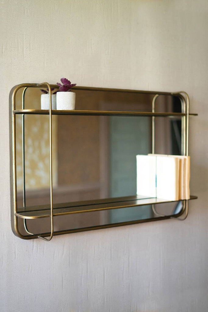 metal mirror with two shelves