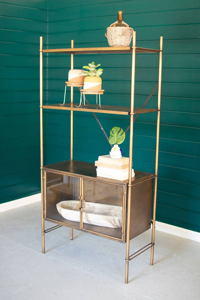 metal shelf rack with bottom glass door cabinet