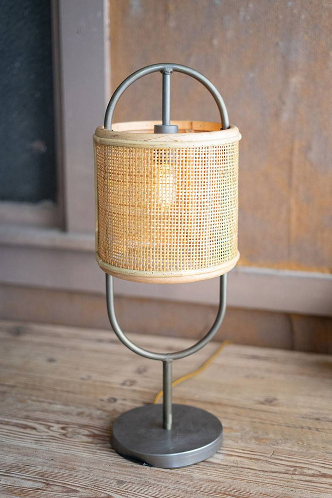 tabletop lamp with cylinder rattan shade