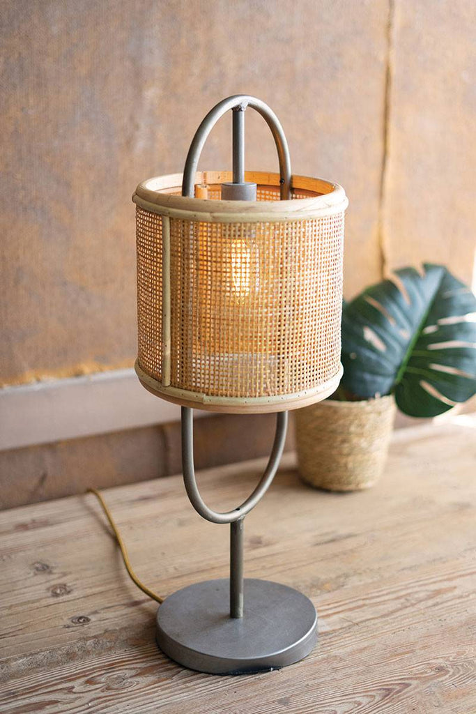 alternate viewing angle of tabletop lamp with rattan shade
