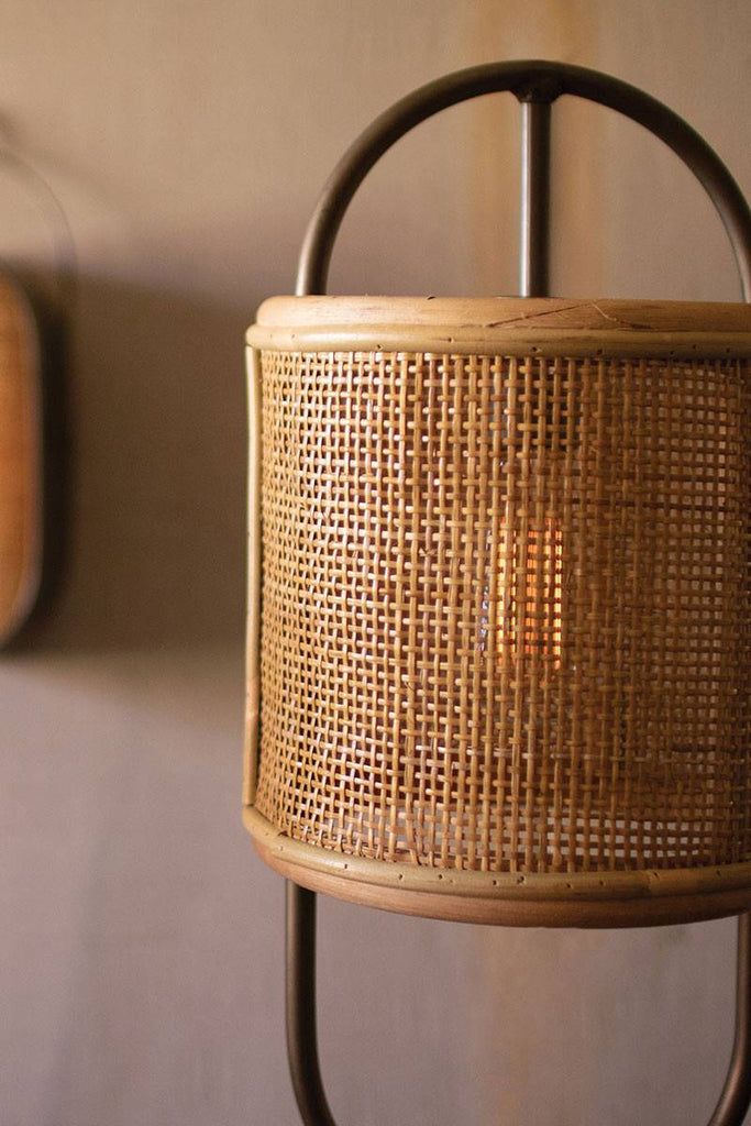 zoomed in on rattan shade