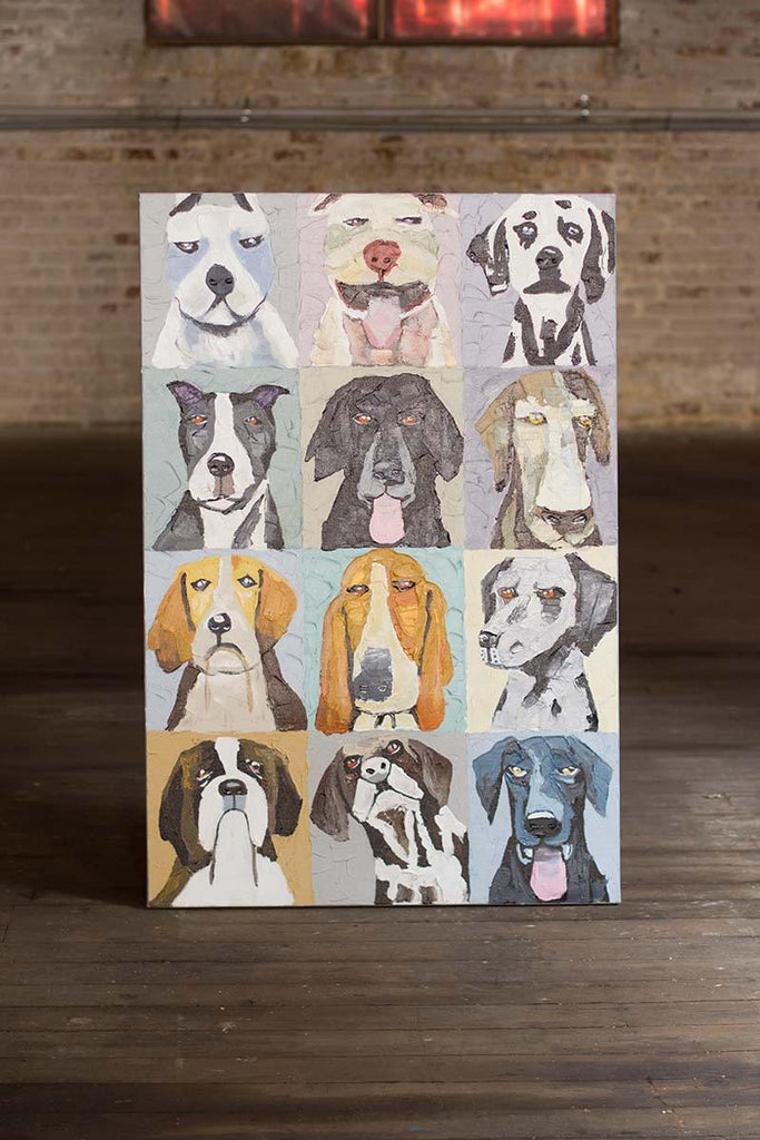 oil painting of twelve dogs emotional expressions