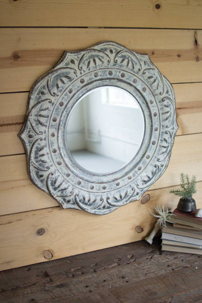 pressed metal flower frame wall mirror