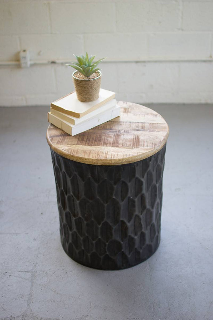 cylindrical pressed metal side table with wood top